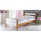 more details on Two Tone White & Pine Bed with Ashley Mattress.