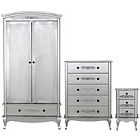 more details on Sophia 3 Piece 2 Door Wardrobe Package - Silver.
