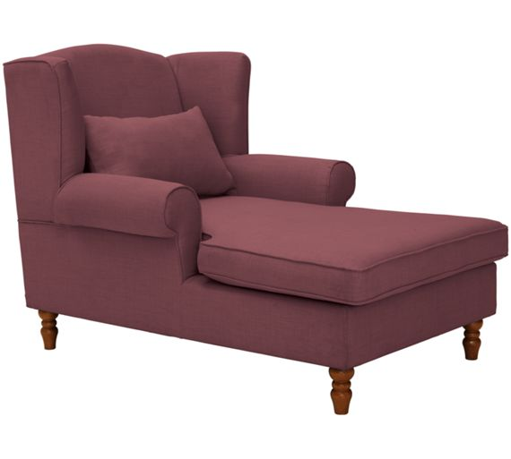 Buy heart of house padstow fabric chaise longue mulberry for Argos chaise lounge