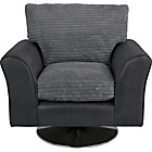 more details on HOME New Bailey Jumbo Cord Swivel Chair - Charcoal.