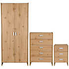 more details on New Capella 3 Piece 2 Door Wardrobe Package - Pine Effect.