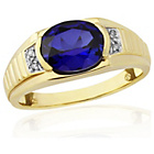 more details on 9ct Gold Plated S.Silver Created Sapphire/Diamond Ring - Z.