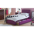 more details on Upholstered Single Bed Frame with Drawer - Plum.