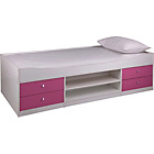 more details on Malibu Pink on White Cabin Bed with Ashley Mattress.