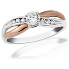 more details on 9ct Rose Gold Plated Sterling Silver Cubic Zirconia Ring - P