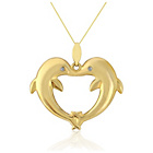 more details on 9ct Gold Diamond Set Twin Dolphin Heart Pendant.