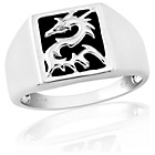 more details on Sterling Silver Black Onyx CZ Dragon Signet Ring - Z.