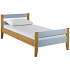 more details on Two Tone Blue & Pine Bed with Drawer & Ashley Mattress.