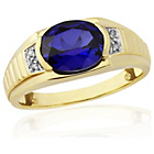 more details on 9ct Gold Plated S.Silver Created Sapphire/Diamond Ring - V.