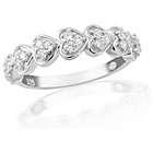 more details on Sterling Silver Cubic Zirconia Heart Half Eternity Ring - T.