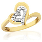 more details on 9ct Gold Diamond Set Heart Dress Ring - Q.