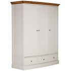 more details on Schreiber Chalbury Triple Wardrobe - White
