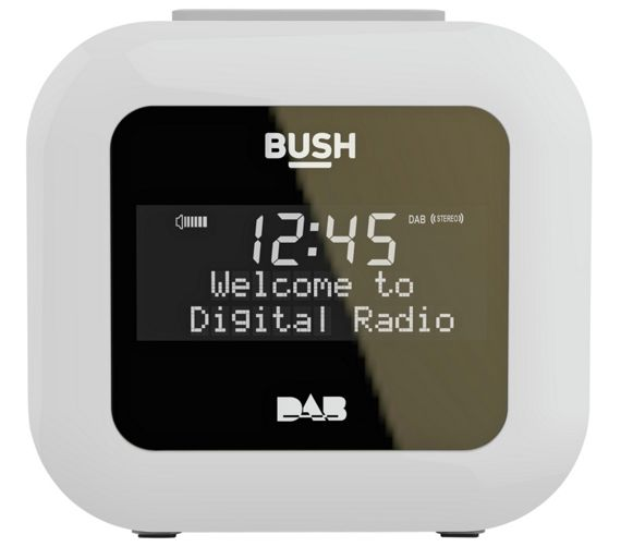 buy bush dab alarm clock radio white at. Black Bedroom Furniture Sets. Home Design Ideas