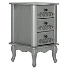 more details on Sophia 3 Drawer Bedside Chest - Silver.