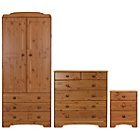 more details on Nordic 3 Piece 2 Door Wardrobe Package - Pine.