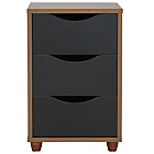more details on Hygena Berkeley 3 Drawer Bedside Cabinet - Black & Walnut.