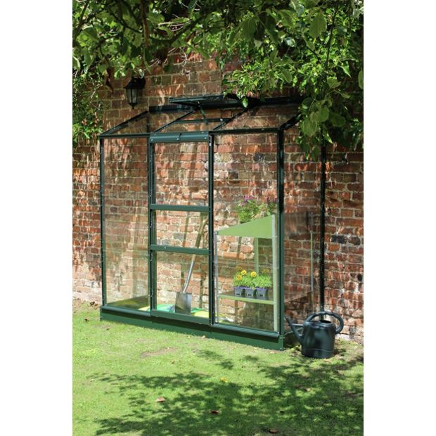 buy halls wall garden lean to greenhouse with base green. Black Bedroom Furniture Sets. Home Design Ideas
