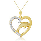 more details on 9ct Gold Cubic Zirconia Set Dolphin Heart Pendant.