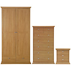 more details on Canterbury 3 Piece 2 Door Wardrobe Package - Oak effect