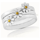 more details on Sterling Silver and Gold Plated Daisy Stacker Rings - L.
