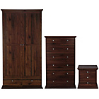 more details on Canterbury 3 Piece 2 Door Wardrobe Package - Walnut effect