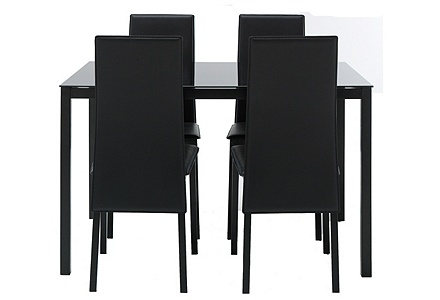 hygena lido glass dining table and 4 chairs black