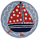more details on Kiddy Play Ship Ahoy Rug - 90x90cm - Blue.