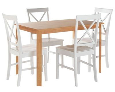 Rosa Oak Effect Dining Table & 4 White Cross Back Chairs