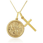 more details on 9ct Gold St Christopher and Cross Twin Pendant.
