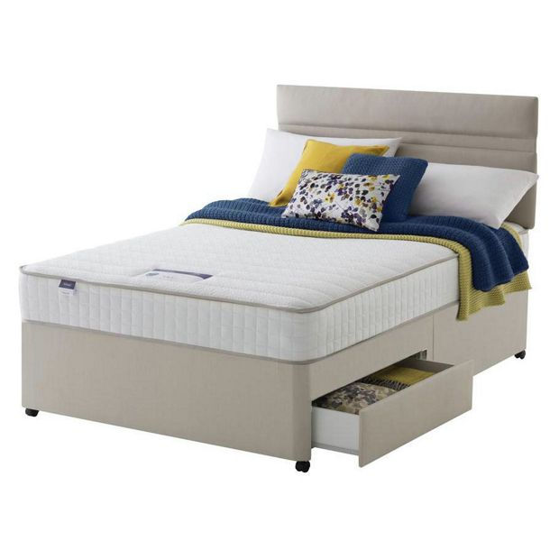 Buy silentnight stroud memory kingsize 2 drawer divan bed at your online shop for Argos single divan beds