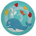 more details on Kiddy Play Whale Rug - 90x90cm - Blue.