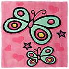 more details on Kiddy Play Butterfly Rug - 90x90cm - Pink.
