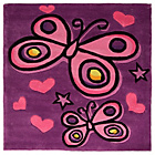 more details on Kiddy Play Butterfly Rug - 90x90cm - Purple.
