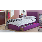 more details on Upholstered Single Bed with Bibby Mattress - Plum