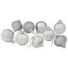 more details on 9 Pack Glass Baubles - Silver.