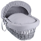 more details on Clair de Lune Waffle Grey Wicker Moses Basket - Grey.