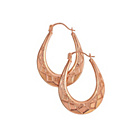 more details on 9ct Rose Gold Faceted Oval Creole Earrings.