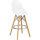more details on Premier Housewares Bar Chair with Wooden Legs - White.
