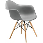 more details on Premier Housewares Occasional Chair with Wood Legs - Grey.