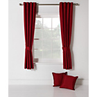 more details on Collection Ella Faux Silk Lined Curtain Set -168x183cm- Red