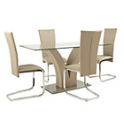 more details on Collection Oriana Glass Table and 4 Cantilever Chairs.