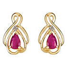 more details on 9ct Gold Created Ruby and Diamond Accent Teardrop Earrings.