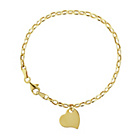more details on Silver and 9ct Bonded Gold Heart Charm Belcher Bracelet.