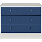 more details on New Malibu 3 Drawer Wide Chest - Blue on White.