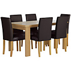 more details on HOME Wentworth Dining Table & 6 Chairs-Ash Veneer/Chocolate.