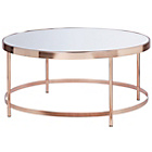 more details on Collection Round Glass Top Coffee Table - Copper Plated.