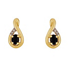 more details on 9ct Gold Black Sapphire Diamond Accent Crossover Earrings.