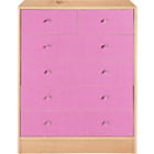 more details on New Malibu 4+2 Drawer Chest - Pink on Pine.