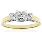 more details on 18ct Gold 1ct Diamond Princess Cut Ring - Size P.