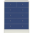 more details on New Malibu 4+2 Drawer Chest - Blue on White.